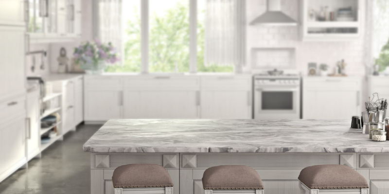 Marble countertops create a look of elegance and sophistication
